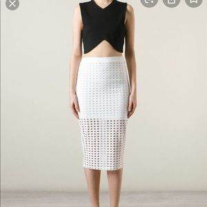 White Perforated Skirt by Alexander Wang
